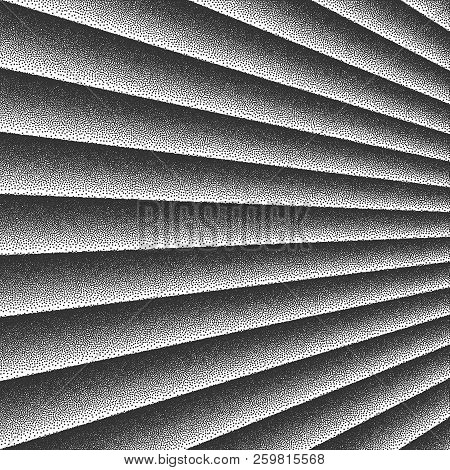 3d Vector Outgoing Perspective Smooth Curved Lines Retro Style Dotwork Background. Abstract Hand Mad