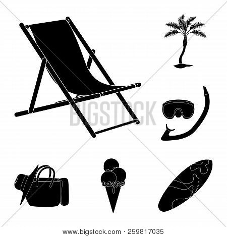 Summer Rest Black Icons In Set Collection For Design. Beach Accessory Vector Symbol Stock Web Illust