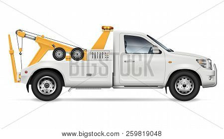 Tow Truck Vector Mockup On White Background For Vehicle Branding And Corporate Identity, Side View.