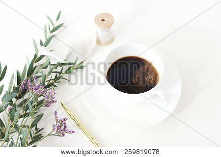 Wedding Styled Stock Photo. Breakfast Still Life With Eucalyptus Leaves, Limonium, Baby's Breath Gyp