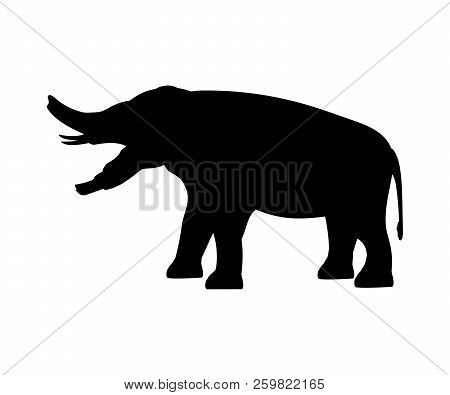Platybelodon Elephant Silhouette Extinct Mammal Animal. Vector Illustration