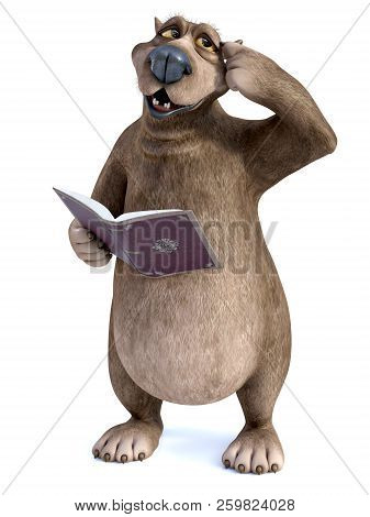 3d Rendering Of A Charming Smiling Cartoon Bear Holding A Book In His Hand Thinking About Something,