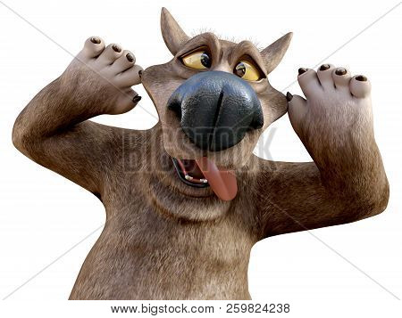 3d Rendering Of A Charming Smiling Cartoon Bear Sticking His Tongue Out And Doing A Silly Face. Whit