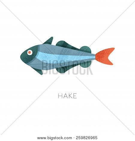Icon Of Hake Fish. Marine Creature. Sea And Ocean Theme. Flat Vector Illustration With Texture