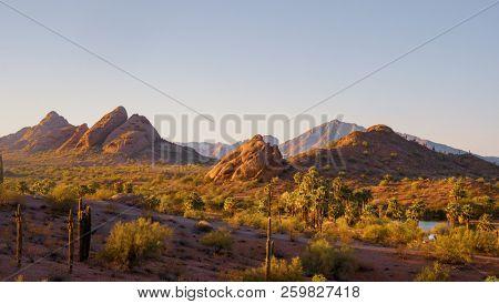 Arizona Papago Park peaking through to Camelback Mountain, Phoenix, Scottsdale Arizona area.