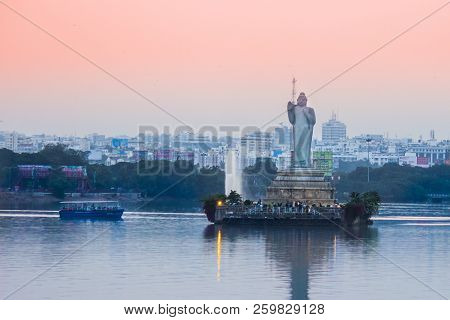 Hyderabad, India - September 17 2018, : Buddha Statue In Hyderabad,india Is Largest Monolithic Statu