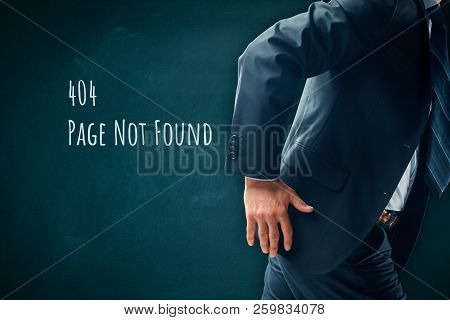 Http 404 Error Not Found Page Template Concept. Error Page 404 Message And Businessperson Leaving Pa