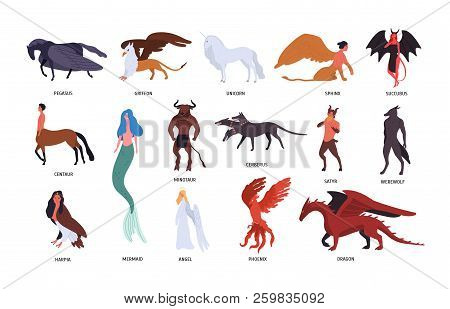 Collection Of Various Magical Mythical Creatures Isolated On White Background. Bundle Of Flat Cartoo