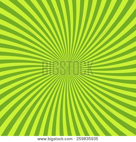 Green Psychedelic Background With Rays, Lines Or Stripes Converging In Center. Square Decorative Bac