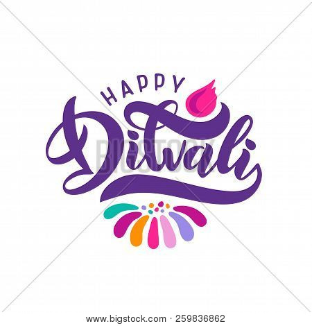 Bright Festive Vector Text Diwali With Imitation Of Diya Oil Lamp, Candle Flame. Decorative Ornament