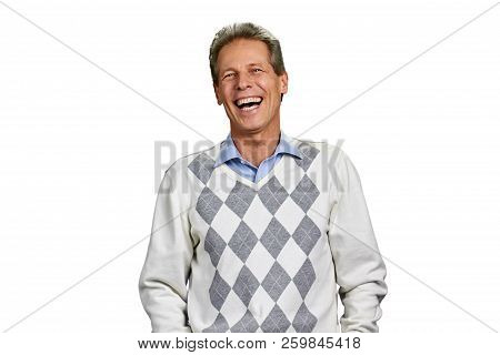 Portrait Of Laughing Man On White Background. Middle Aged Male Person Is Laughing. Positive Facial E
