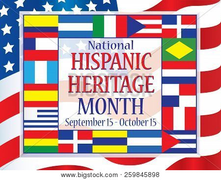 National Hispanic Heritage Month Banner With Flags