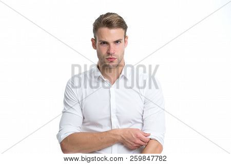 Man Well Groomed Unbuttoned White Collar Elegant Shirt Isolated White Background. Macho Confident Re