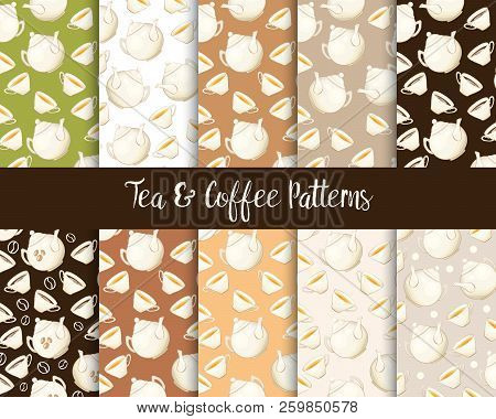 Tea Or Coffee Teatime Seamless Patterns Set With Porcelain Teapot And Tea Cup In Flat Style. Ready T