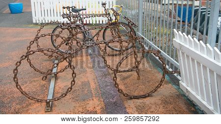 Bicycle Parking As Art Object. Cycling Culture And Infrastructure. Bicycle Parking Made Out Of Bruta