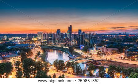 Vilnius, Lithuania, Eastern Europe. Summer Cityscape With Modern Office Buildings Skyscrapers In Bus