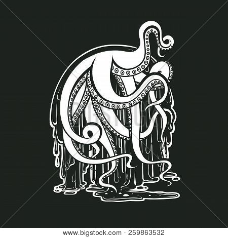 Vector Monster Octopus Tentacles Flow Slime. Logo For Halloween. Drawing Creepy Cephalopod Mollusk I