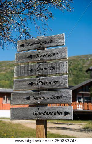 Signpost With Directions On Besseggen Ridge In Jotunheimen National Park, Norway