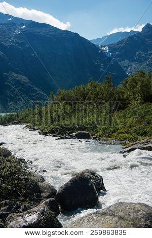 Mountain River On Besseggen Ridge In Jotunheimen National Park, Norway
