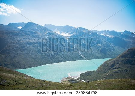 Aerial View Of Besseggen Ridge Over Blue Gjende Lake In Jotunheimen National Park, Norway