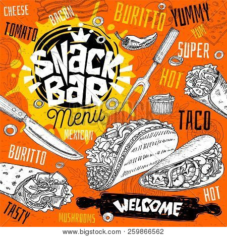 Snack Bar Cafe Restaurant Menu. Mexican, Taco, Burrito Fast Food Poster Cards For Bar Cafe. Design T
