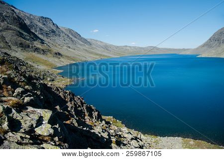 Scenery Landscape With Gjende Lake, Besseggen Ridge, Jotunheimen National Park, Norway