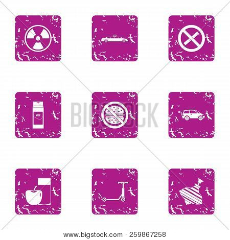Threat To Life Icons Set. Grunge Set Of 9 Threat To Life Vector Icons For Web Isolated On White Back