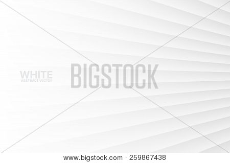 White Abstract Vector Clear Blank Subtle Geometrical Background. Light Colorless Empty Skew Wall. 3d