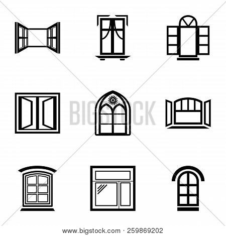Window Frame Icons Set. Simple Set Of 9 Window Frame Vector Icons For Web Isolated On White Backgrou