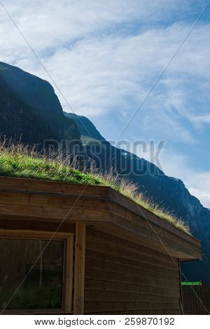 House In Gudvangen Town With Mountains, Neirofjord, Norway