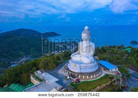aerial photography scenery blue sky and blue ocean behind Phuket white big Buddha. Phuket white big