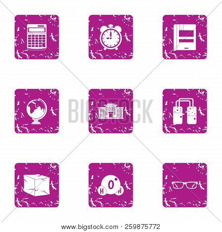 Scientific Investigate Icons Set. Grunge Set Of 9 Scientific Investigate Vector Icons For Web Isolat