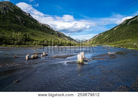 View Of The Savage River In Denali National Park In The Summer. The Savage River Has Sandbars And Is