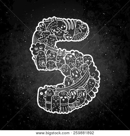 Number Five. Hand Drawn Doodled Kids Numbers. Cute Monstred Numbers, Math Symbols. Vector Illustrati