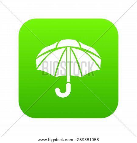 Nylon Umbrella Icon Green Vector Isolated On White Background