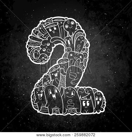 Number Two. Hand Drawn Doodled Kids Numbers. Cute Monstred Numbers, Math Symbols. Vector Illustratio