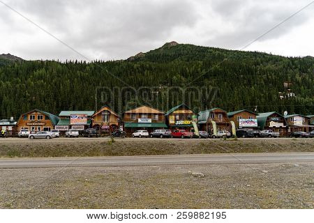 August 12 2018 - Denali National Park, Alaska: View Of The Row Of Gift Shops, Restaurants And Touris