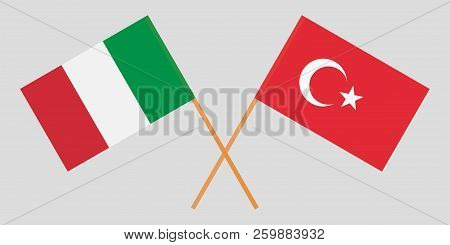 The Crossed Turkey And Italy Flags. Official Colors. Proportion Correctly. Vector Illustration