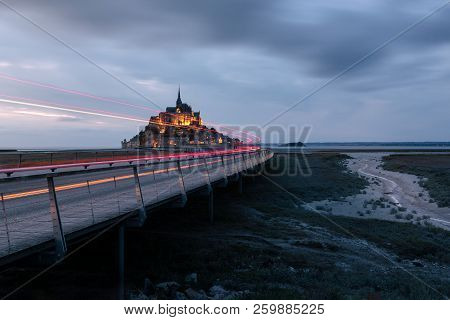 French Landscape - Normandie. The Mont Saint Michel After Sunset In Twilight.