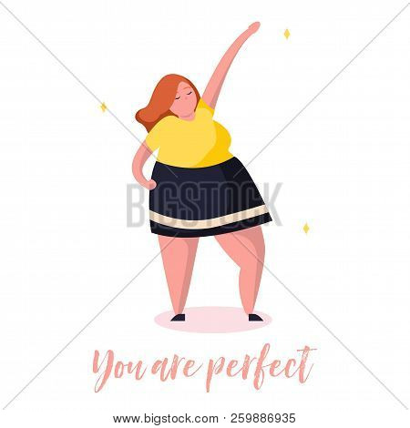 Confident Girl. Body Positive Illustration Card With Plants And Lettering In Trendy Flat Style. Text