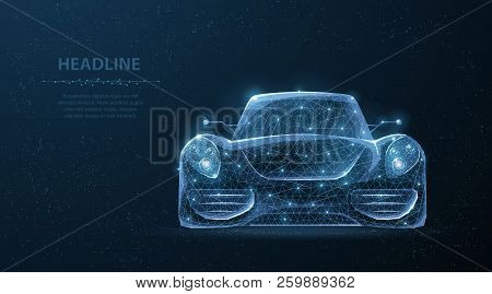 Car. Abstract 3d Polygonal Wireframe Low Poly Sport Car On Blue Night Sky With Stars.