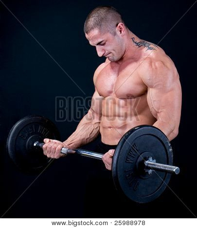 Man with a bar weights in hands training poster