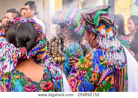 Parramos, Guatemala - December 29, 2016: Local Indigenous Maya Women Dressed In Ceremonial Headdress