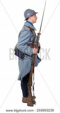 A French Soldier 1914 1918 Isolated On White Background
