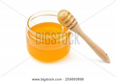 Pot With Honey And Drizzler Isolation On A White Background Honey Pot And Dipper Isolated On White B