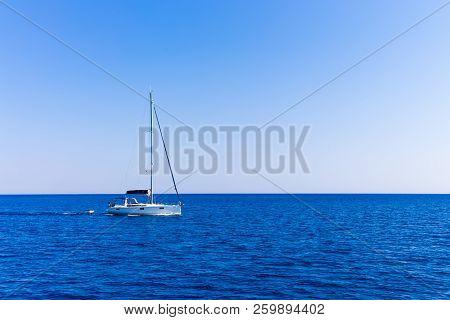 Beautiful Sailboat Sailing Sail Blue Mediterranean Sea Ocean Horizon, Motor Only, Sails Down
