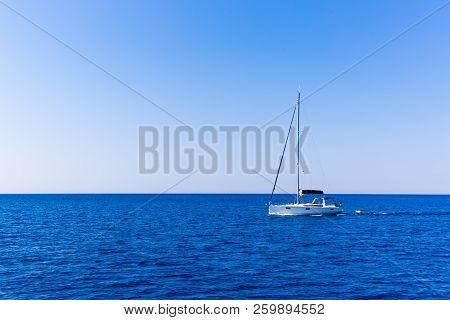 Beautiful Sailboat Sailing Sail Blue Mediterranean Sea Ocean Horizon, Sails Down