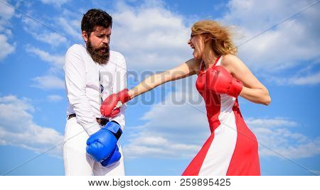 Attack Is Best Defence. Man And Woman Fight Boxing Gloves Sky Background. Couple In Love Boxing. Wom