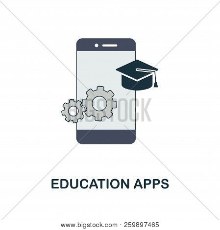 Education Apps Flat Icon. Monochrome Style Design From Online Education Icon Collection. Ui And Ux.
