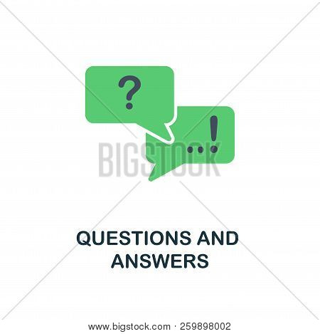 Questions And Answers Flat Icon. Monochrome Style Design From Online Education Icon Collection. Ui A